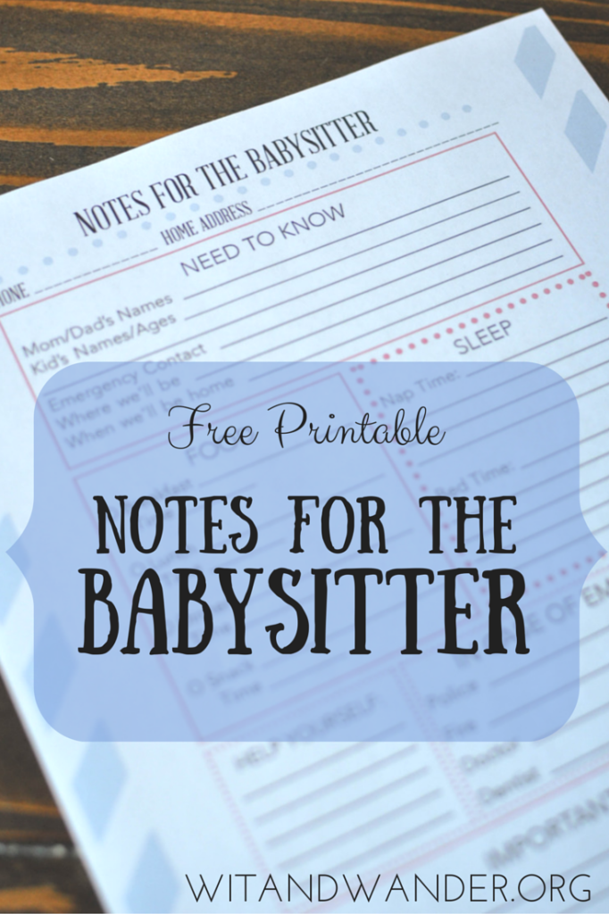 Notes for the Babysitter Printable - Wit & Wander