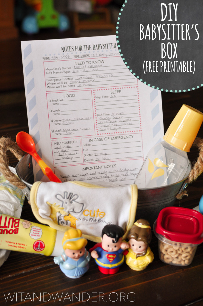 DIY Babysitter's Box Printable - Wit and Wander