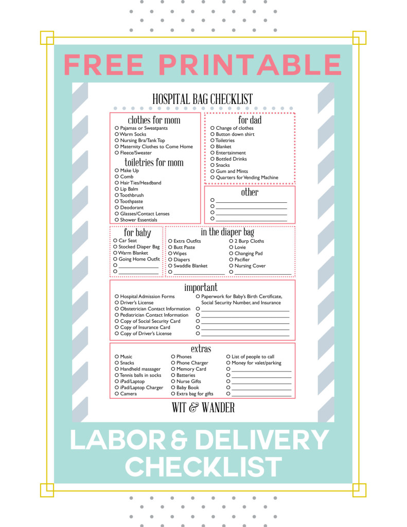 Free Printable Labor and Delivery Hospital Bag Packing Checklist - Wit & Wander
