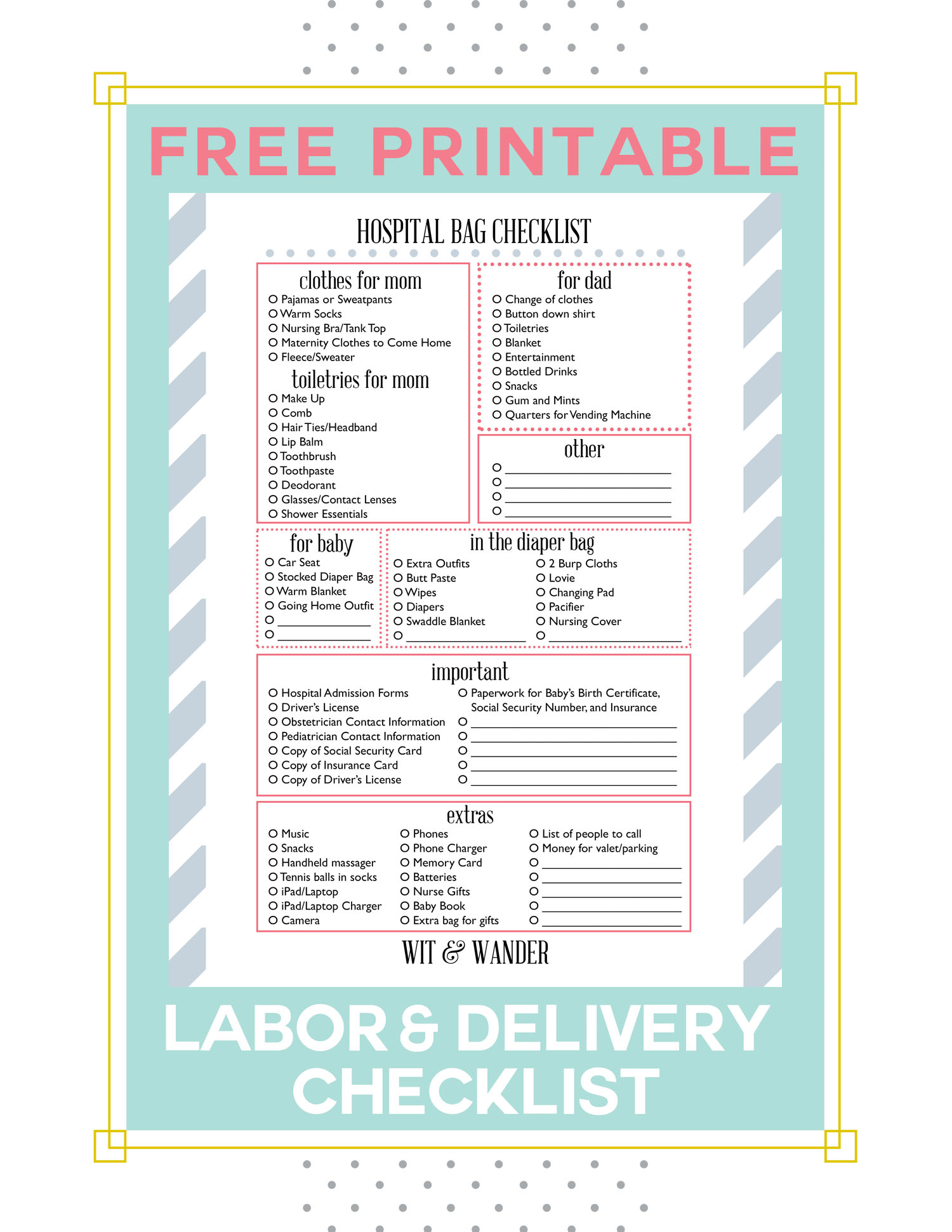 Free Printable Labor And Delivery Hospital Bag Ng Checklist Wit Wander