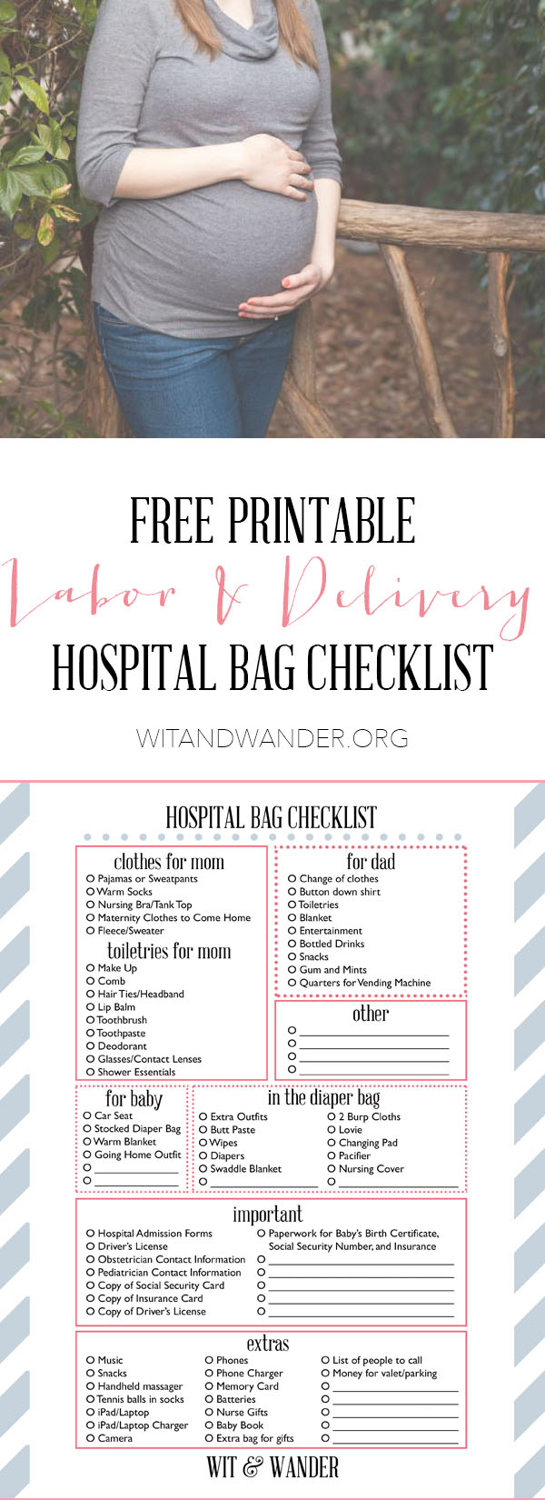 photograph about Printable Hospital Bag Checklist for Labor and Delivery identified as Printable Maternity Medical center Bag List - Wit Walk