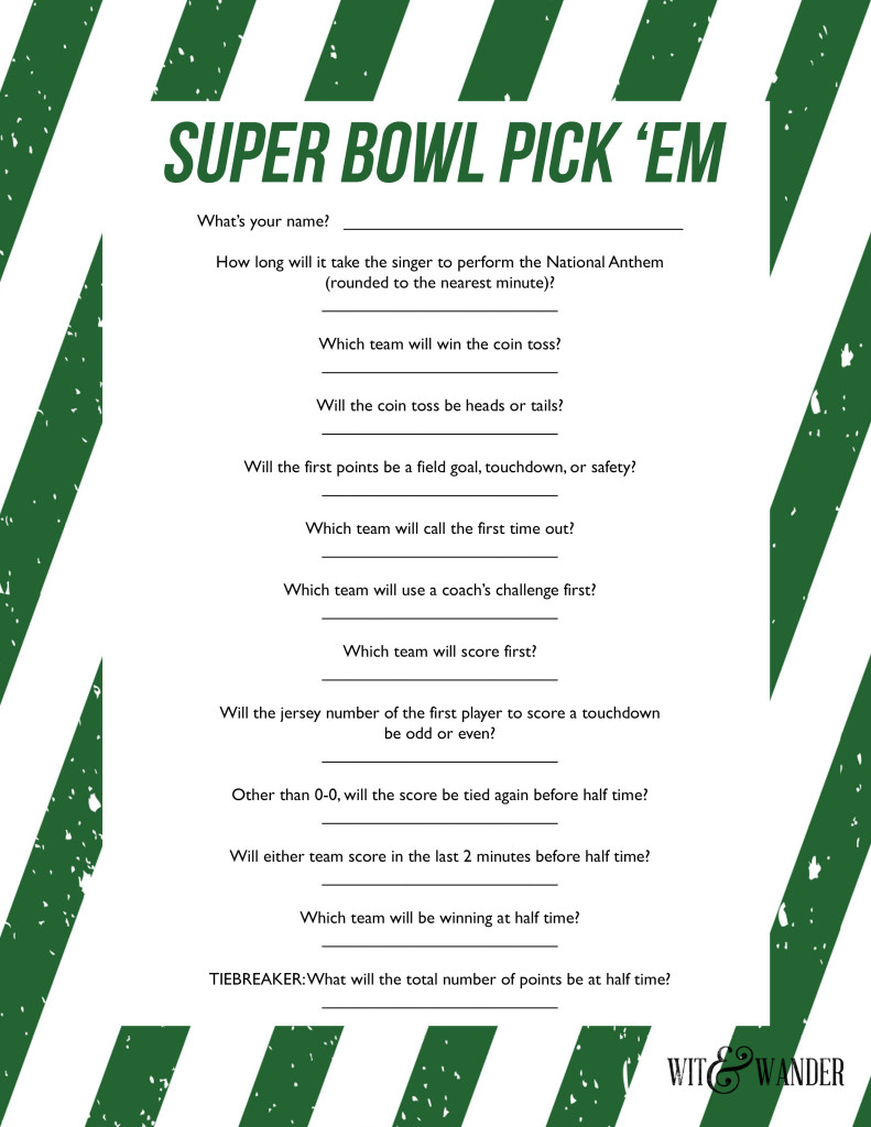 Delicate image throughout super bowl party games printable