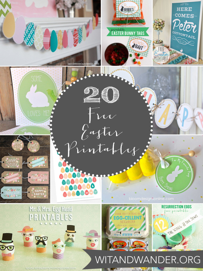 Wit & Wander Round Up of 20 Free Easter Printables