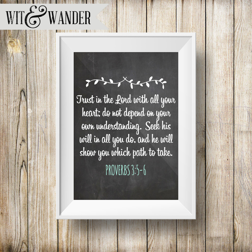 Wit & Wander - Trust in the Lord with All Your Heart Scripture Art