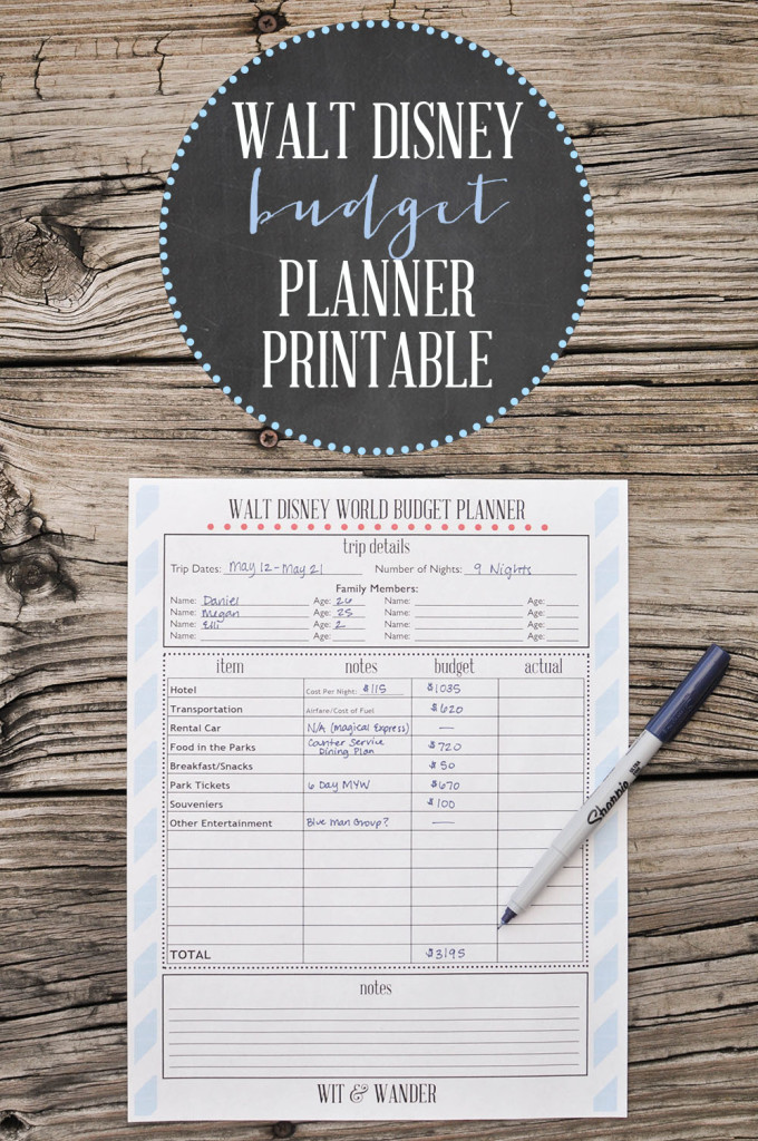 Disney World Budget Planner - Wit & Wander