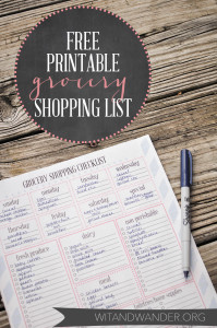 Grocery Shopping List - Wit & Wander 1