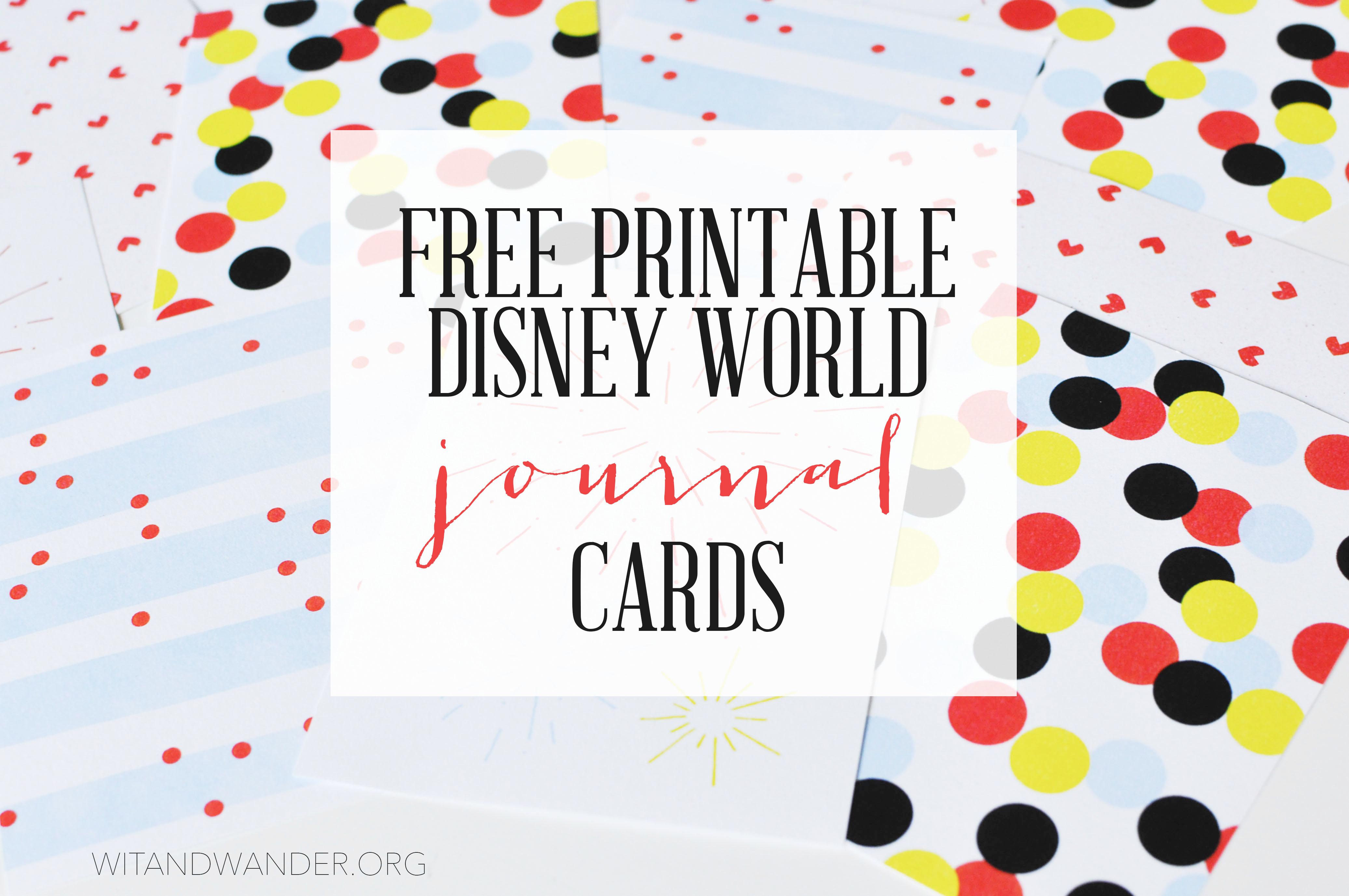 image regarding Free Printable Journal Cards titled Disney International
