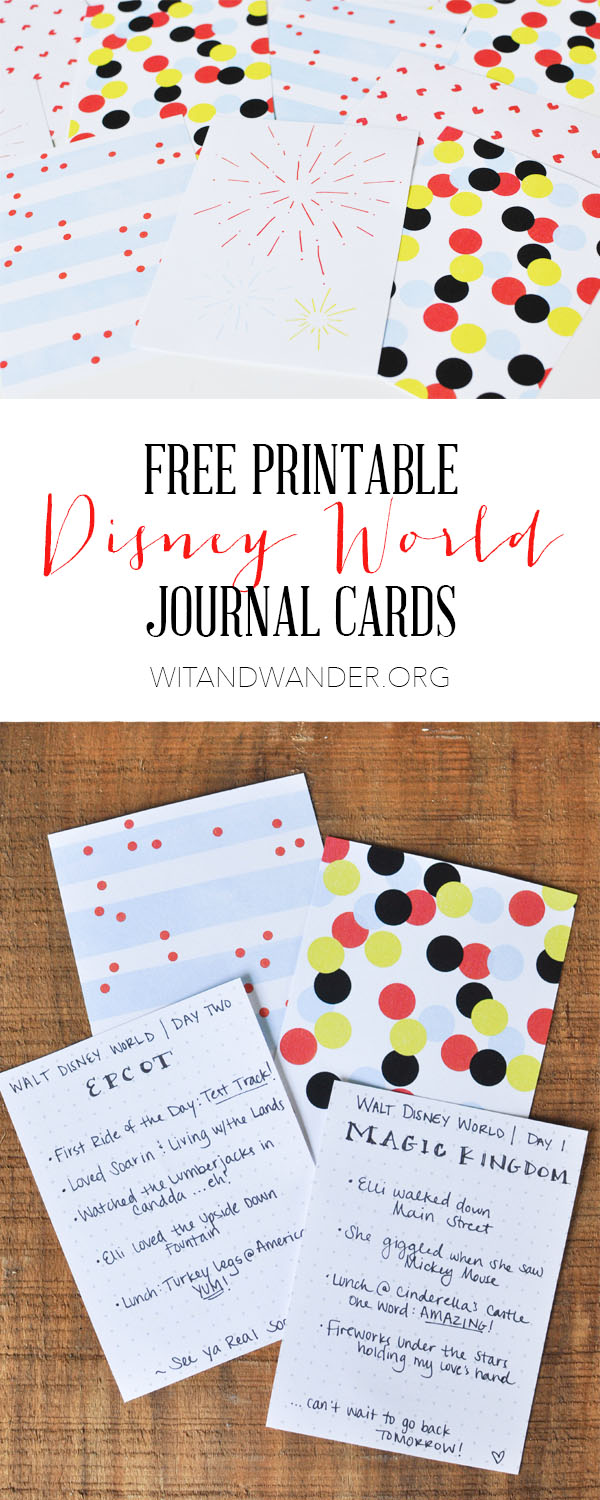 Disney Journal Cards - Wit & Wander Long Pinterest