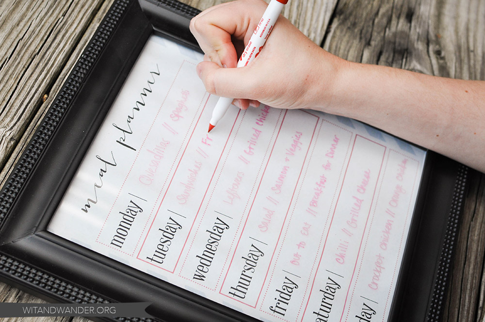 DIY Dry Erase Menu Planner Board Printable - Wit & Wander