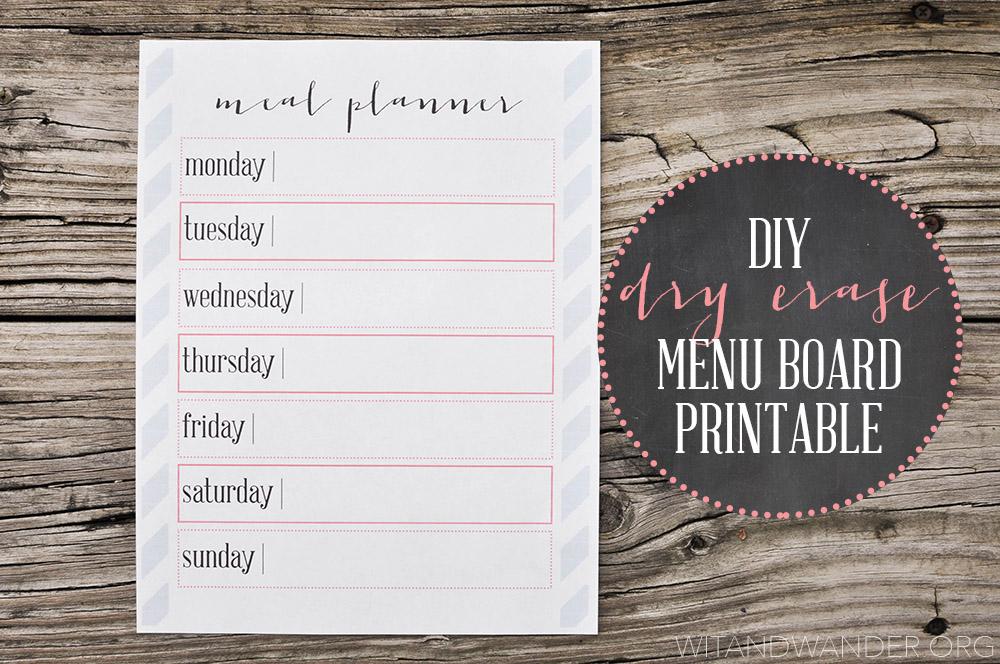 DIY Dry Erase Menu Planner Board Printable - Wit & Wander