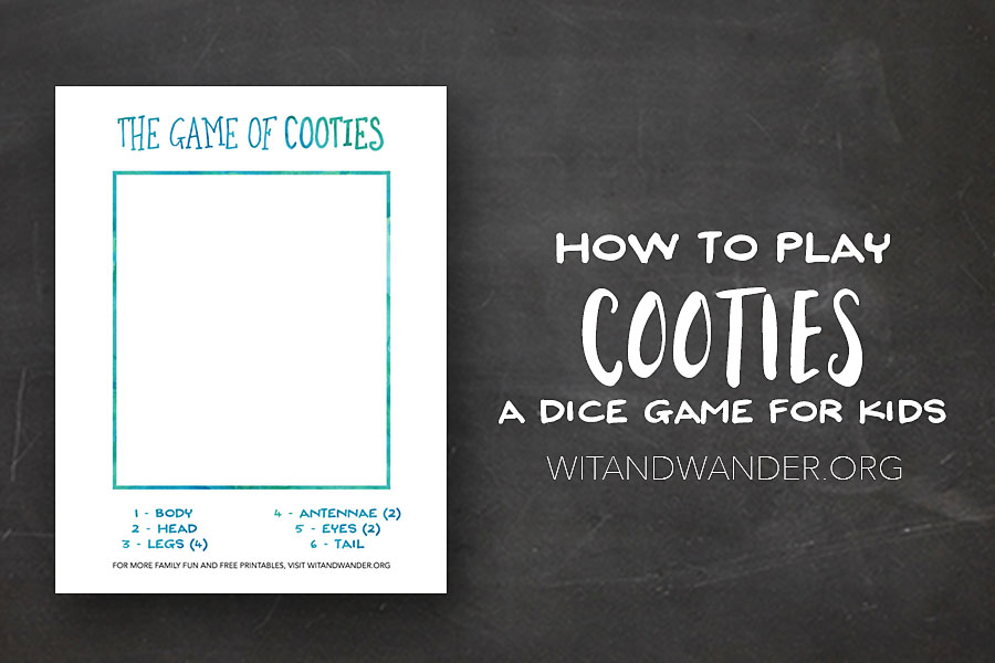 Cooties - A Free Printable Dice Game for Kids - Wit & Wander Header