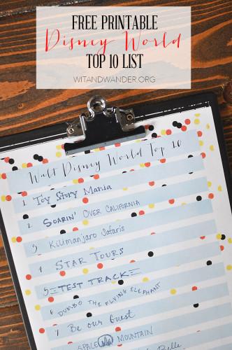 Printable Disney World Top 10 List - Wit & Wander 4