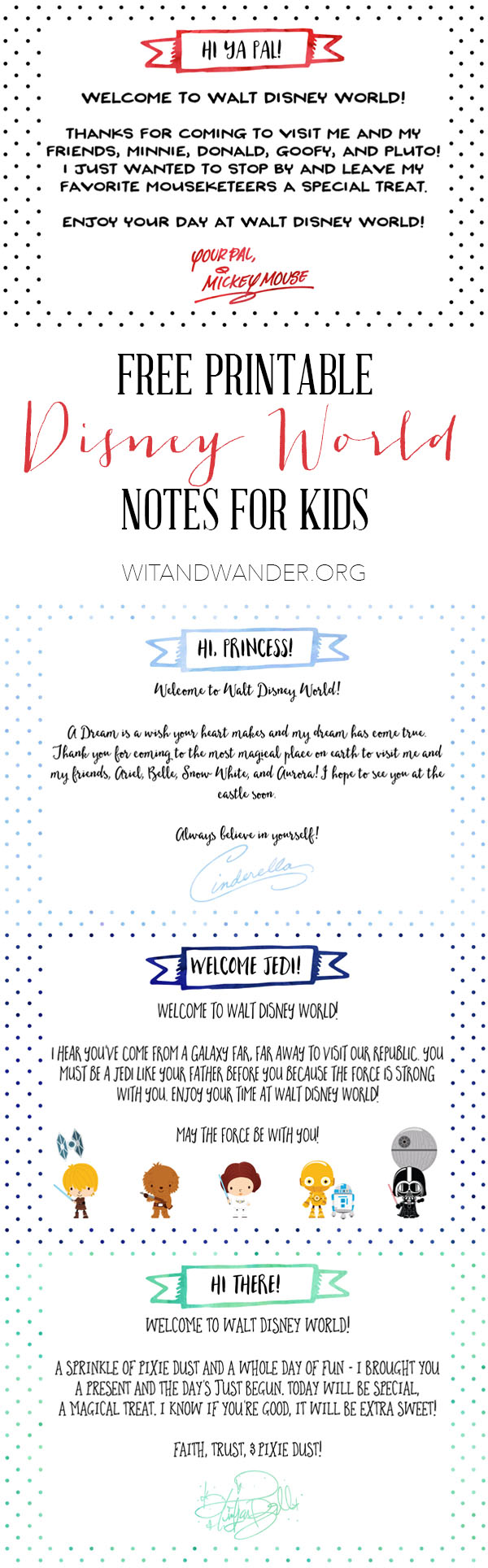 Free Printable Notes for Disney World Vacation | Wit & Wander Pinterest
