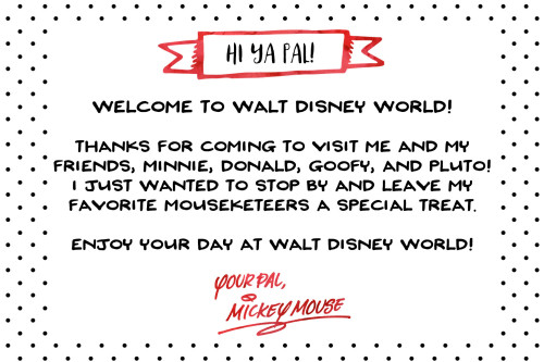 Free Printable Note from Mickey Mouse for Disney World Vacation | Wit & Wander