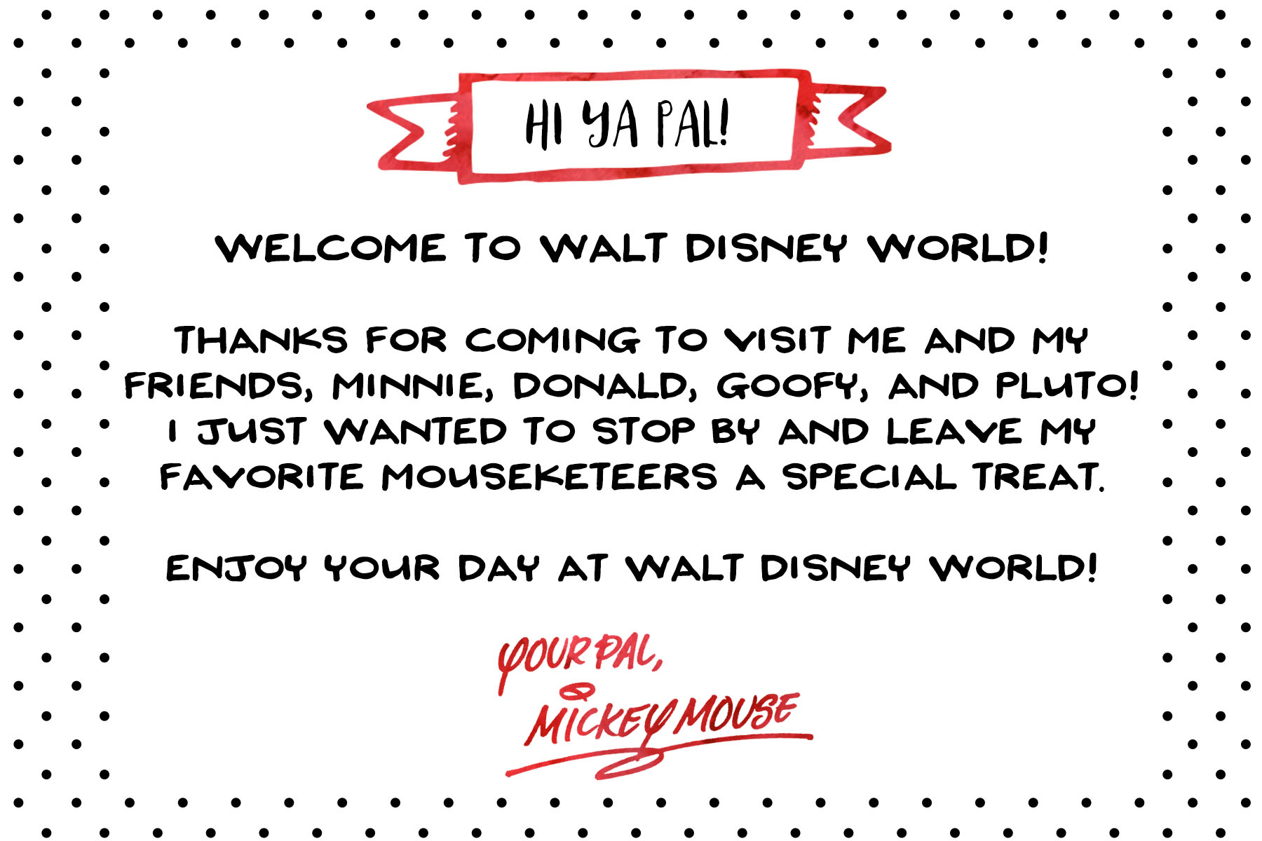 Free Printable Note from Mickey Mouse for Disney World Vacation | Wit ...