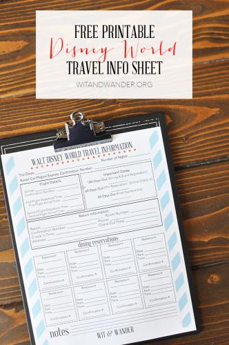 Disney World Travel Info Planner - Wit & Wander 1