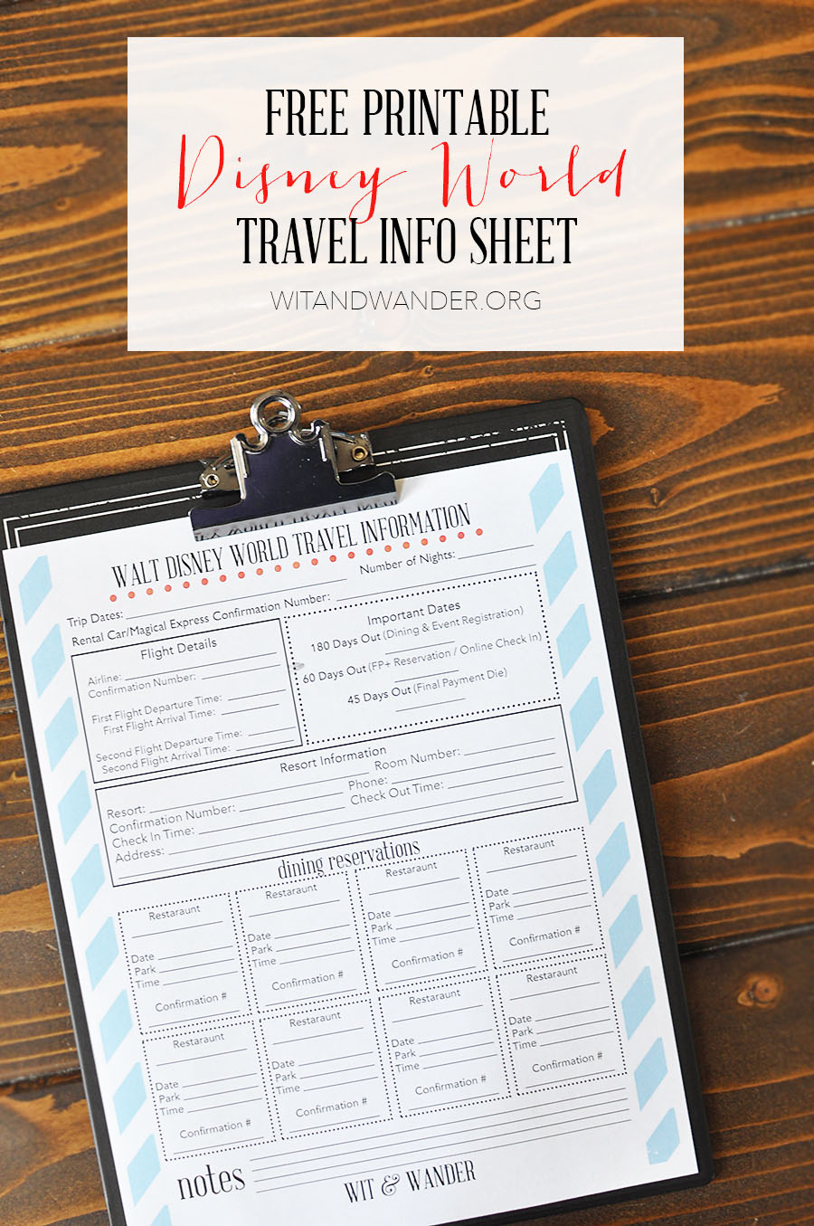 Disney World Travel Info Planner - Wit & Wander 1