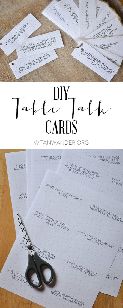 DIY Free Printable Dinner Table Talk Cards for Families with over 100 questions to spark conversation. | Wit & Wander