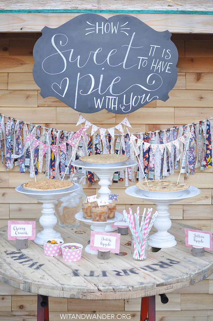 Pie Bar Party: How sweet it is to have pie with you! This sweet vintage floral Pie Bar Party with DIY Cake Stands, Apple Pie in a Jar, and Free Printables like Party Invitations, Mini Bunting, and Toothpick Flags.