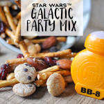 Star Wars™ Galactic Party Mix with Cookie Crisp, pretzels, dried cranberries, mixed nuts, and baking chips. #FoodAwakens