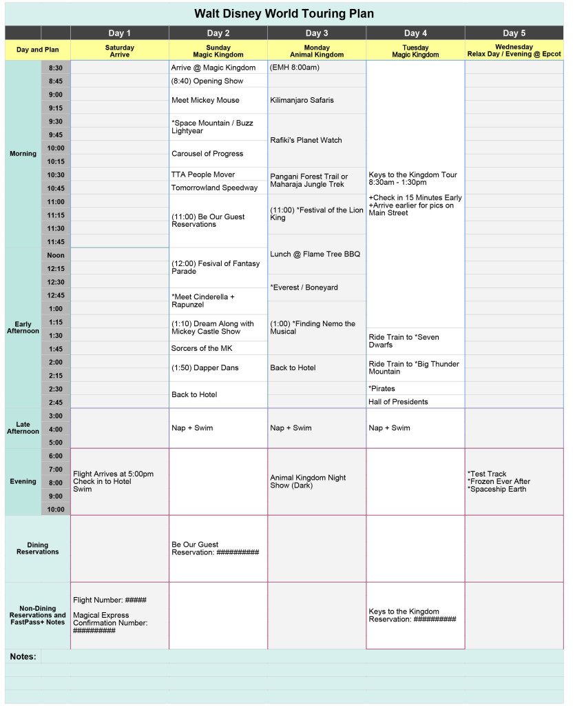 Free Walt Disney World Touring Plan Spreadsheet | Wit & Wander