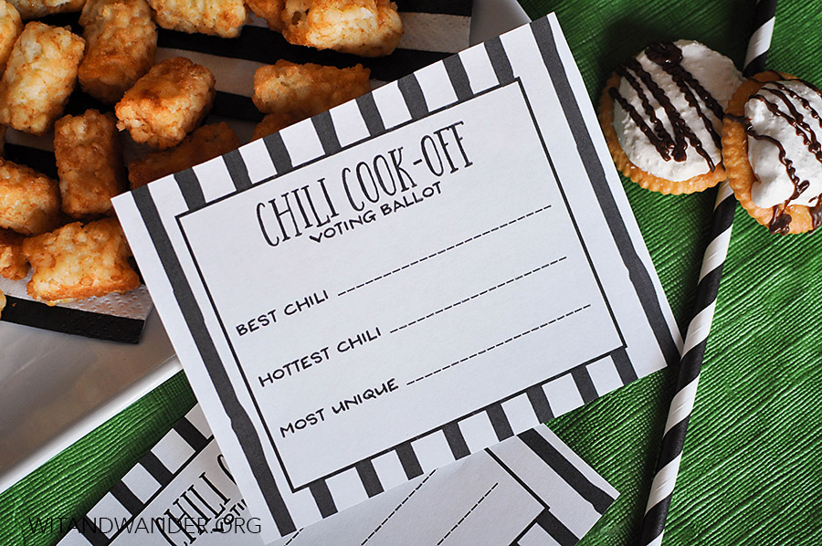 Free Printable Chili Cook Off Score Cards | Chili Cook Off Tailgate Party | Wit & Wander