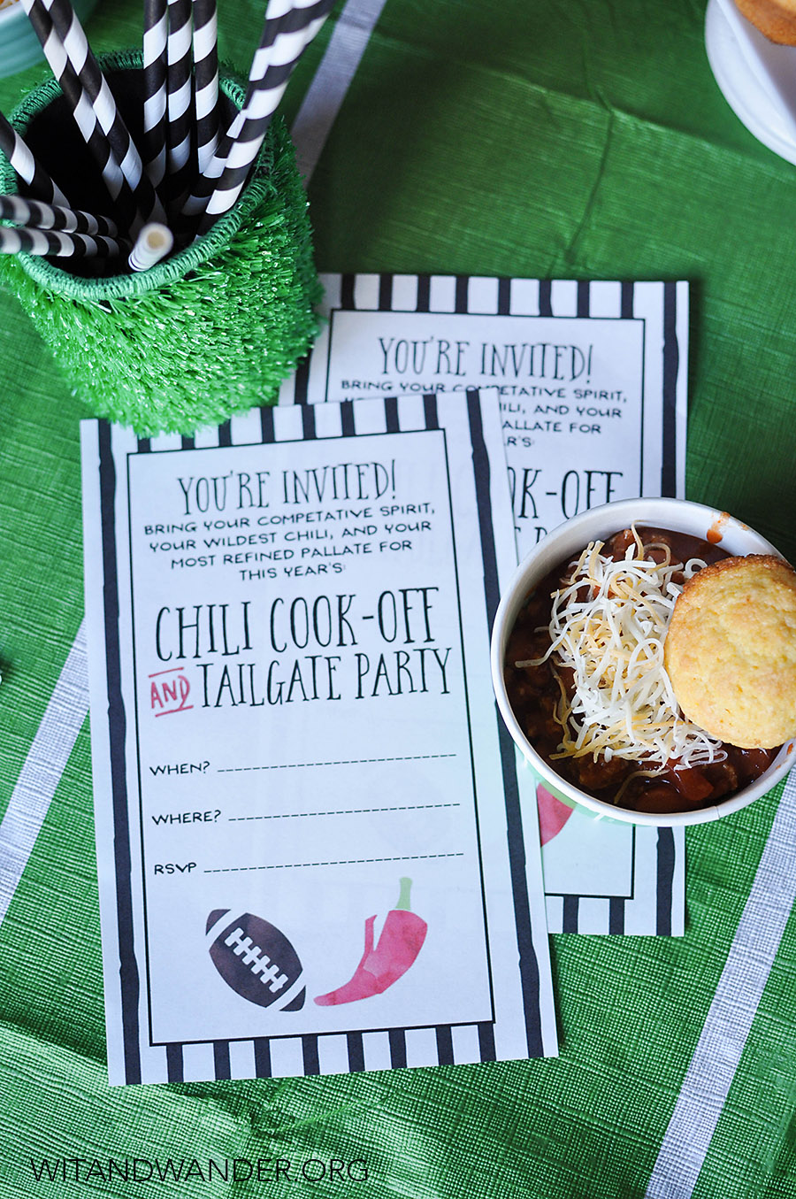 Free Printable Chili Cook Off Invitations | Chili Cook Off Tailgate Party | Wit & Wander