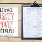 Free Printable Disney Movie Countdown Checklist