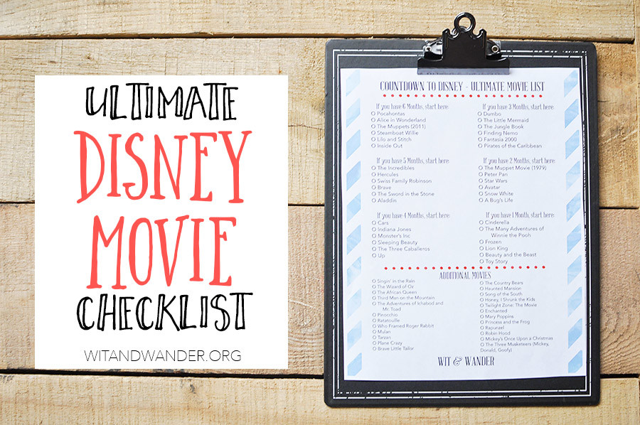 Disney World Movie Countdown Checklist | Wit & Wander