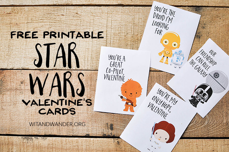 free printable star wars valentines day card wit wander - Valentine Day Cards For Kids