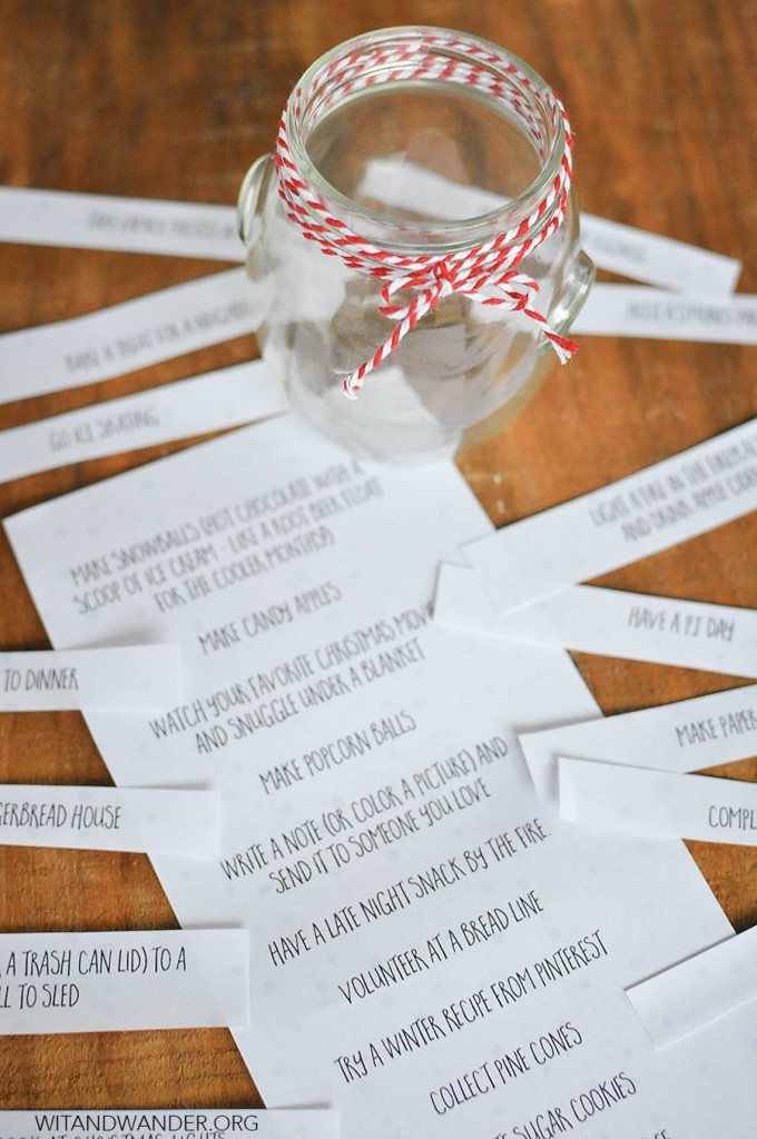 DIY Winter Bucket List in a Jar with a Free Printable Christmas Bucket List - Wit & Wander
