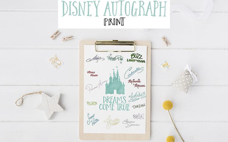 Free Disney World Autograph Print - Dreams Come True and Disney Princess