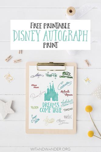 Free Disney World Autograph Print - Dreams Come True Pinterest