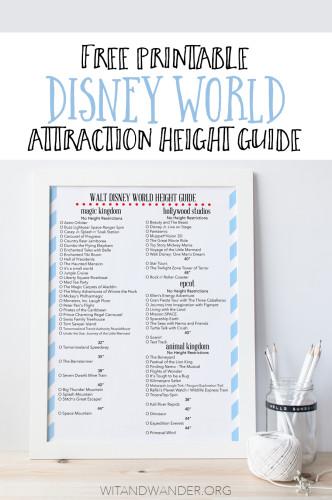 Walt Disney World Attraction Height Guide - Wit & Wander