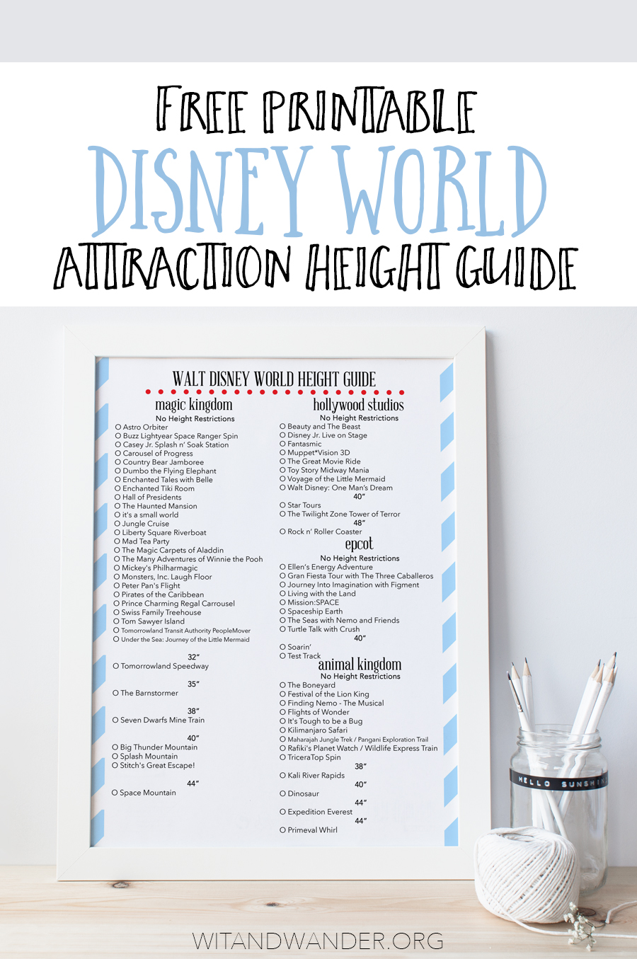 Free Printable Height Guide To Rides At Disney World Our