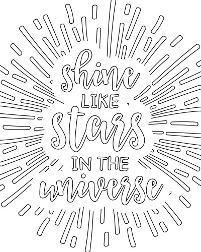 Shine Like Stars in the Universe - Free Printable Adult Coloring Pages - Scripture | Wit & Wander