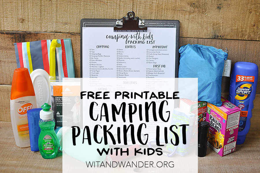 Packing List for Camping with Kids - Wit & Wander