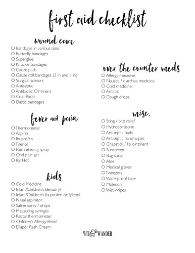 Free Printable First Aid Kit Checklist Our Handcrafted Life
