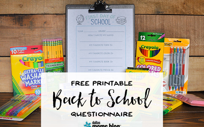 Free Printable Back to School Questionnaire - Wit & Wander
