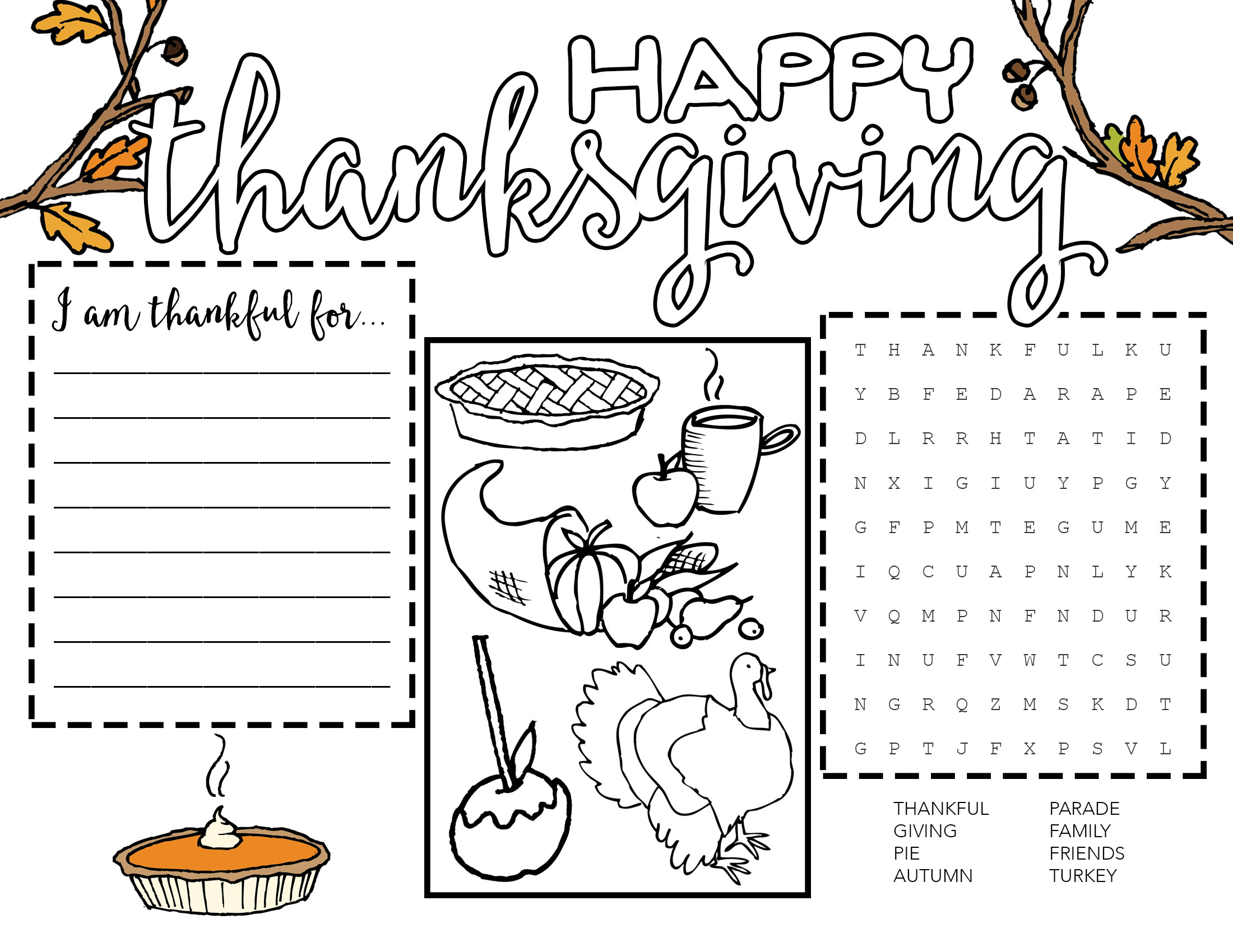 picture about Thankful Printable identified as Totally free Printable Thanksgiving Placemat - Our Handcrafted Everyday living