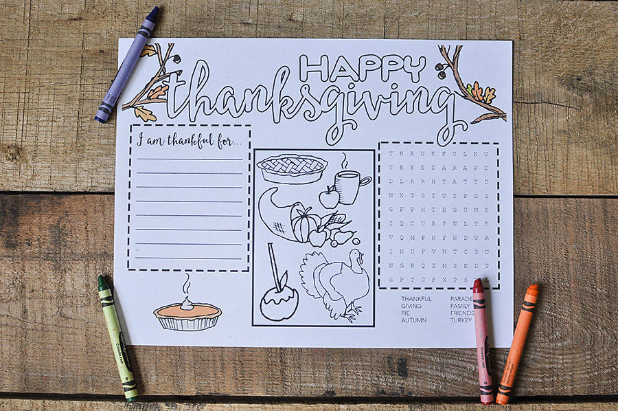image relating to Printable Thanksgiving Placemat titled Absolutely free Printable Thanksgiving Placemat - Our Handcrafted Lifetime