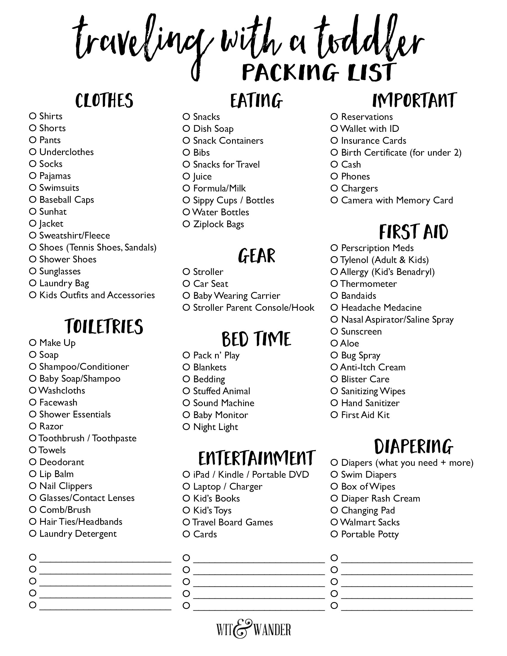 packing checklist traveling with toddler