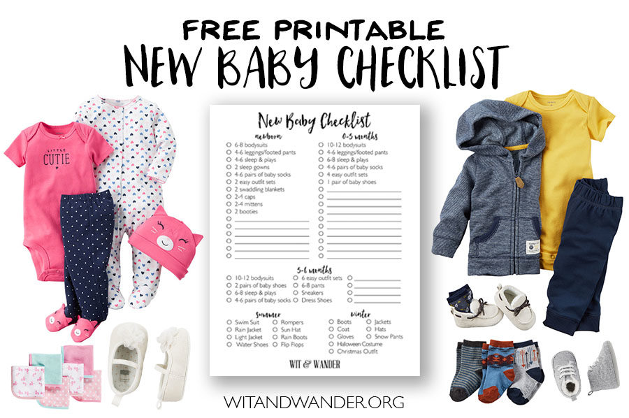 Free Printable New Baby Checklist for Baby Clothes - Wit & Wander