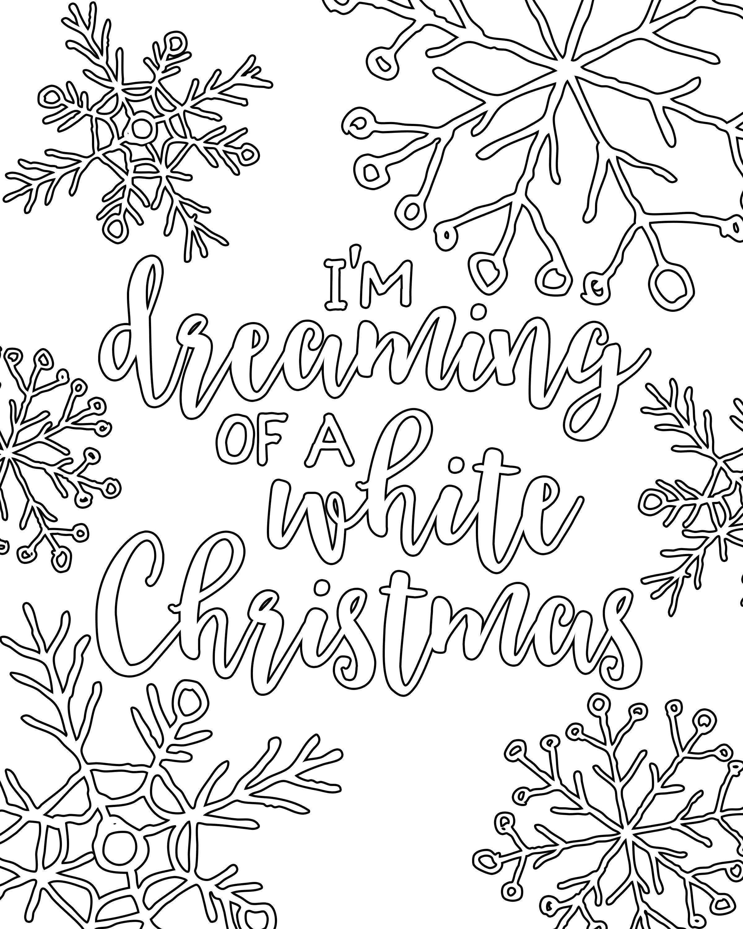 Free printable white christmas adult coloring pages our for Christmas printables coloring pages