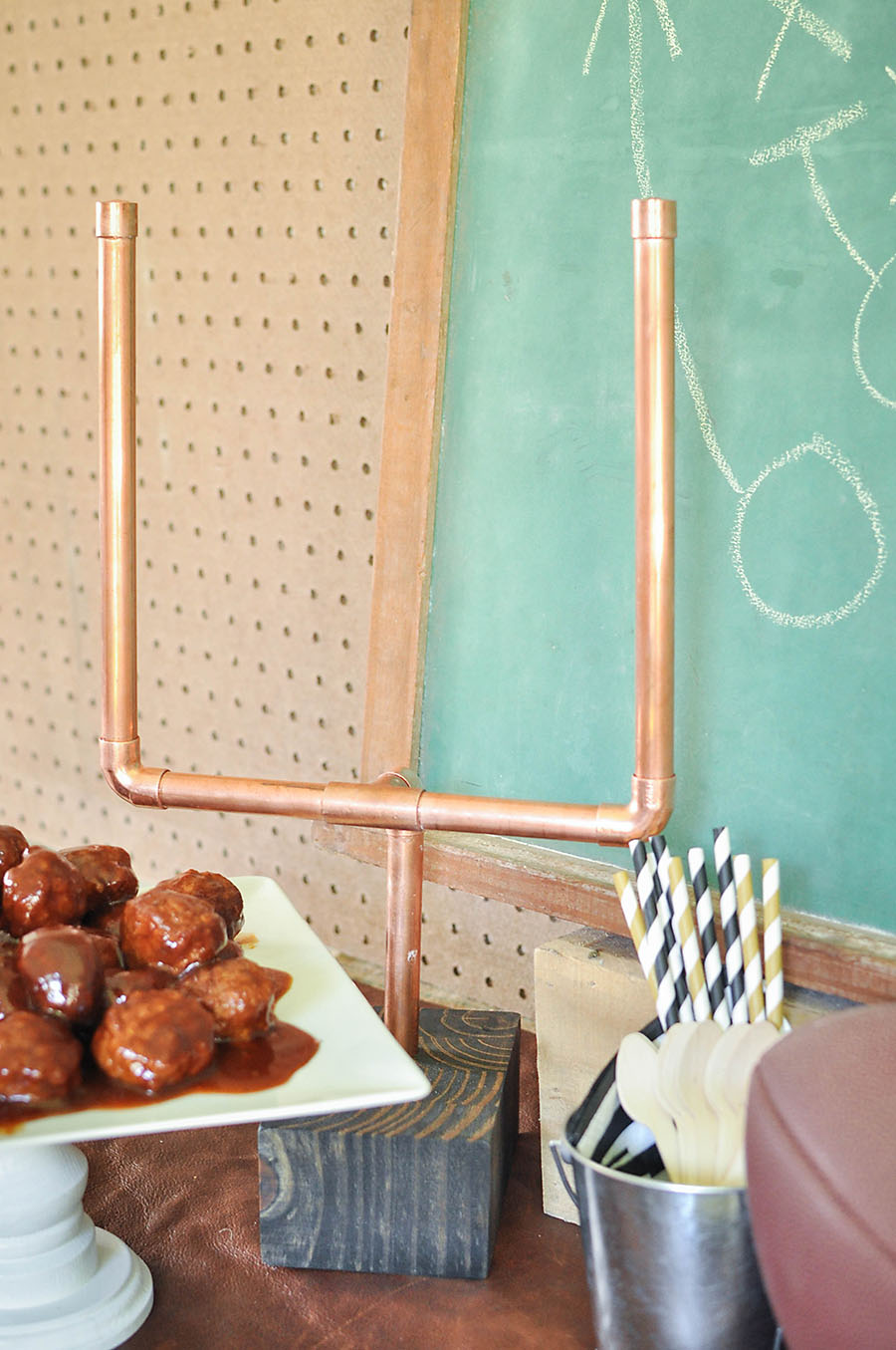 DIY Vintage Football Party DIY Copper Mini Football Goalposts - Wit & Wander