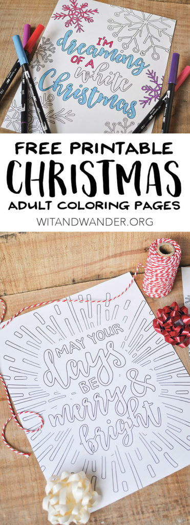 Free Printable Christmas Adult Coloring Pages - Wit & Wander