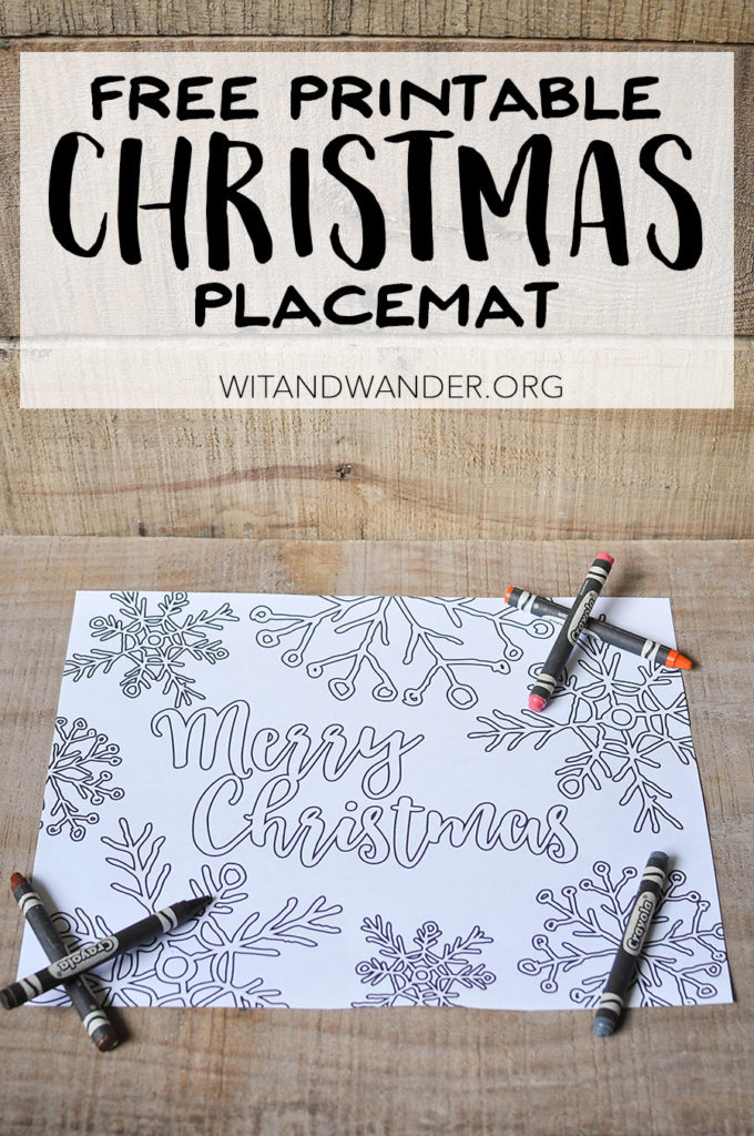 Free Printable Christmas Placemat Adult Coloring Page - Wit & Wander