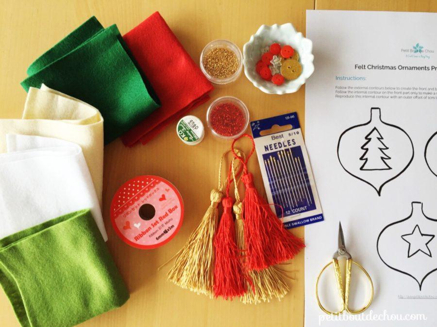 supplies needed for felt christmas ornaments DIY