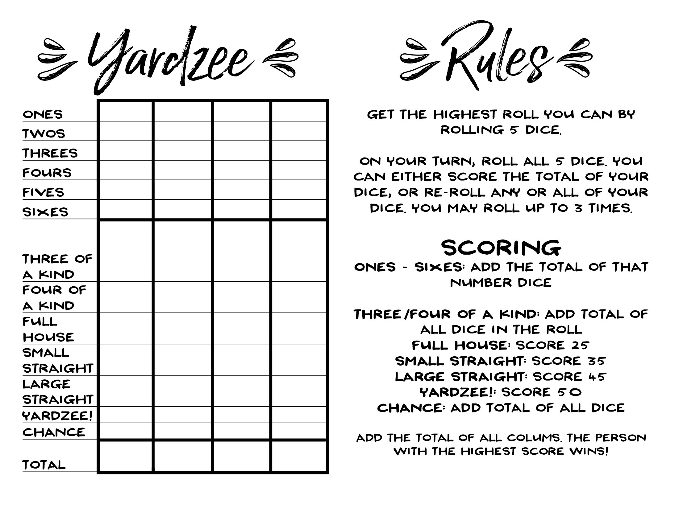 picture about Yardzee Rules Printable identify How in the direction of Produce Large Back garden Cube + No cost Printable Yardzee! - Our