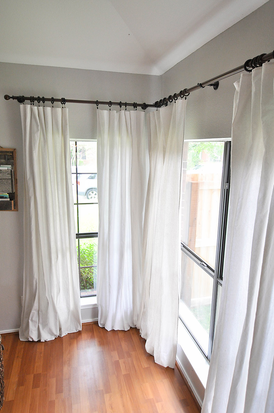 how to make no sew bleached drop cloth curtains our. Black Bedroom Furniture Sets. Home Design Ideas